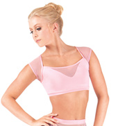 Adult Short Sleeve Mesh Crop Dance Top