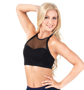 Adult Mesh X-Back Crop Dance Top