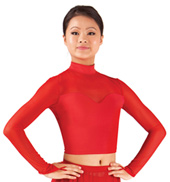 Adult Mock Neck Long Sleeve Crop Top