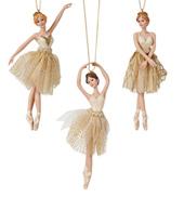 Gold Porcelain Ballerina Ornament - Set of 3