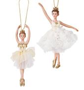 Gold/White Porcelain Ballerina Ornament - Set of 2