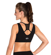 Girls Black Mesh Cheer Tank Crop Top