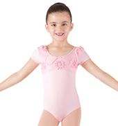 Girls Cap Sleeve Swirl Tulle Leotard