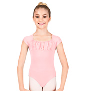 Girls Cap Sleeve Open Back Leotard