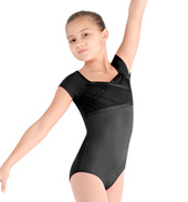 Girls Mock Wrap Cap Sleeve Leotard