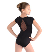 Girls Diamante Daisy Mesh Cap Sleeve Leotard