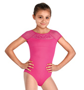 Girls Embroidered Almedia Cap Sleeve Leotard with Diamantes