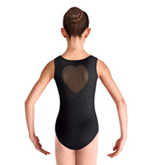 Girls Miame Heart Mesh Scoop Neck Tank Leotard