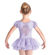 Girls Foxglove Mesh Back Short Sleeve Tutu Dress