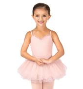 Girls Valentine Heart Mesh Camisole Tutu Dress