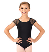 Girls Audet Heart Mesh Short Sleeve Leotard