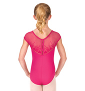 Girls Nasira Heart Embroidered Short Sleeve Leotard