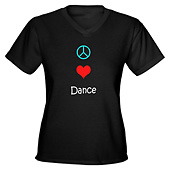 Women Peace Love Dance V-Neck T-Shirt