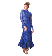 Adult Ruffled Long Sleeve Embroidered Ballroom Dress