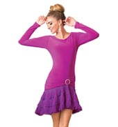 Adult Fringe Long Sleeve Ballroom Dress
