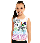 Child Dance Sketch Burnout Tank Top