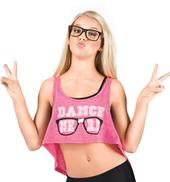 Girls Dance Nerd Crop Tank Top in Pink