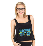 Adult Dance Nerd Crop Tank Top in Black