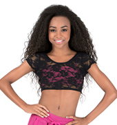Girls Reversible Short Sleeve Lace Crop Top