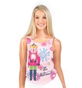 Girls Open Back Nutcracker Snowflake Tank Top in Pink