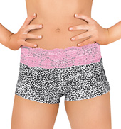 Girls Cheetah and Lace Dance Shorts