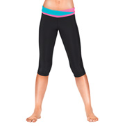 Girls Color Block Capri Leggings