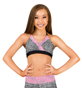 Girls Cheetah and Lace Halter Bra Top