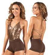 Adult Halter Strappy Back Sequin Bodysuit