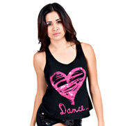 Adult Pink Heart Cross Back Tank Top