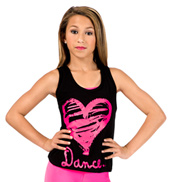 Child Pink Heart Cross Back Tank Top