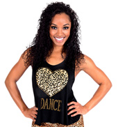 Adult Leopard Heart Cross Back Tank Top