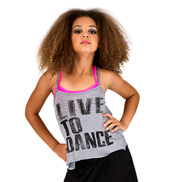Child Live to Dance Camisole String Back Top