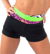 Adult High Waist Color Block Dance Shorts