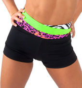Girls High Waist Color Block Shorts