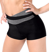Adult Color Block High V-Waist Dance Short