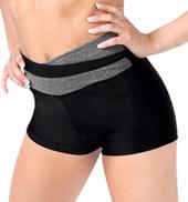 Adult Color Block High V-Waist Dance Shorts