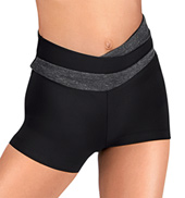 Girls Color Block High V-Waist Dance Short