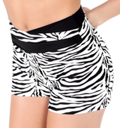 Adult Zebra High V-Waist Dance Short
