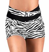 Girls Zebra High V-Waist Dance Short
