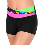 Girls Neon High Waist Overlapping Shorts