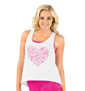 Adult Lace Back Heart Graphic Tank Top