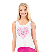 Girls Lace Back Heart Graphic Tank Top