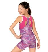 Girls Sound Wave Keyhole Back Tank Biketard