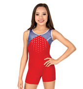 Girls Patriotic Print Tank Biketard