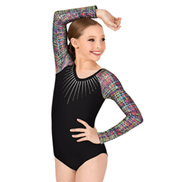 Girls Printed Long Sleeve Leotard