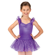 Girls Flutter Sleeve Foil Dot Camisole Dance Dress