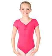 Girls Short Sleeve Princess Seam Leotard