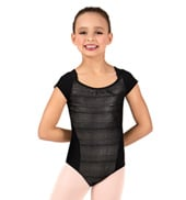 Girls Keyhole Back Short Sleeve Leotard