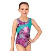 Girls Printed X-Back Metallic Tank Leotard
