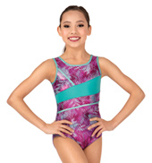 Girls Printed Metallic Tank Leotard